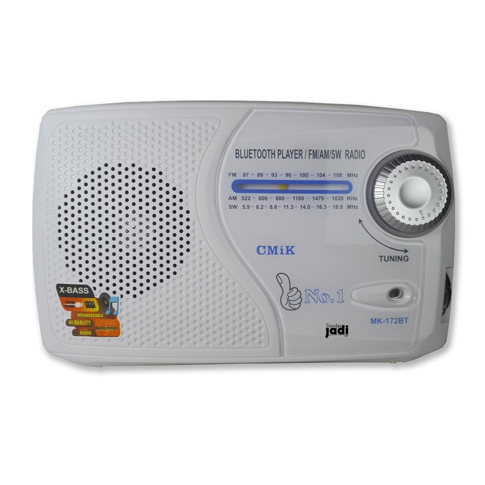 Reproductor Mp3 Mic Usb Sd Radio Fm Sw Am Recargable blanco Sl